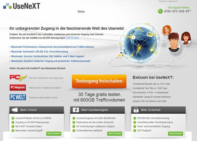 Usenext.de Homepage