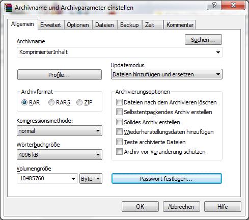 Optionen und Einstellungen von WinRAR