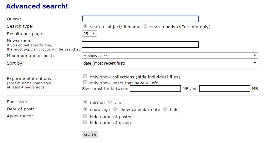 Binsearch - Erweiterte Suche